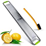 2 in 1 Lemon Zester and Cheese Grate, Stainless Steel Fine Blades Citrus Zester with Cleaning brush