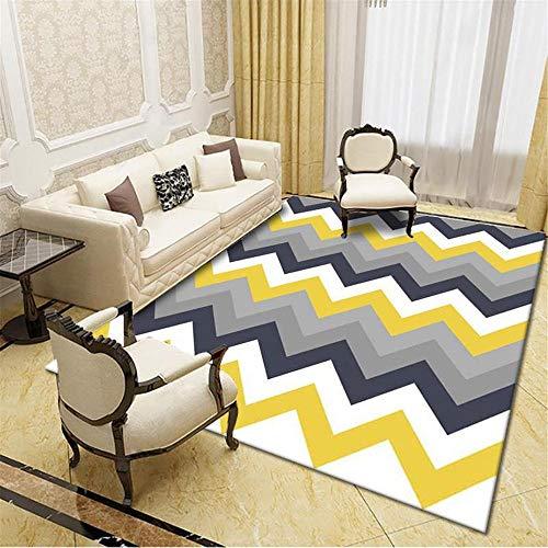 alfonbras de Salon Grandes,Patrón Corrugado Amarillo-Gris, Cuidado Conveniente Alfombra antibacteriana y a Prueba de Humedad, alfombras Dormitorio -Gris_Los 200x300cm