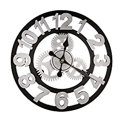 12 Inch Large Wall Clock Decorative for living Room Steampunk Rustic Vintage Wall Décor Round Timer, Silver Arabic 12 Inch