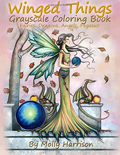 Winged Things - A Grayscale Coloring Book For Adults: Featuring Fairies,...