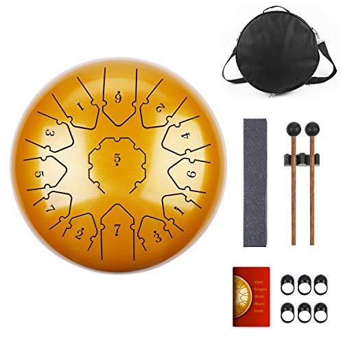 KUDOUT 12 Zoll 13 Tone Tongue Drum, ätherische Trommel Schlagzeug Instrument Hand mit Schlagzeug Schlägel Taschen Tragen, Hand Pan Drum mit Trommelschlägeln Note Sticks für Meditation Yoga golden