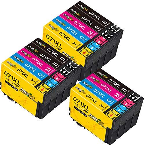 DOREINK 071XL - Cartuchos de repuesto para Epson Stylus SX100 SX218 SX415 SX515W SX200 DX400 DX4050 DX7450 DX8400 DX8400 50 (50 cm) negro/3 cian/3 magenta/3 amarillo).