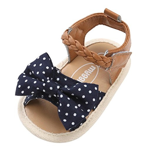 Sandalias niñas Xinantime Zapatos bebés de Verano para niñas Chica Sandalias con cinturón Tejido bebé Sneaker Zapatillas Planas Bowknot Zapatos Princesa Calzado (12-18 Meses, Azul Real)