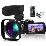 Caméra vidéo, ACTITOP Caméscope FHD 1080P 24MP IR Vision Nocturne 3'Caméra vidéo pour caméscope Youtube à écran Tactile LCD avec Microphone Externe, Objectif Grand Angle, télécommande et Pare-Soleil