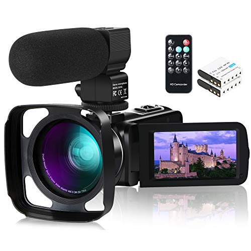 Videokamera Camcorder, ACTITOP 1080P 30FPS IR Nachtsicht YouTube Kamera 16x digitaler Zoom Touchscreen Videorecorder mit Mikrofon, Weitwinkelobjektiv, Fernbedienung, 2 Batterien und Gegenlichtblende