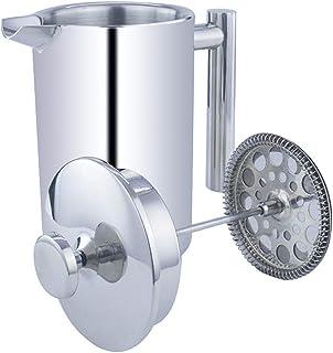 ポータブル ステンレス鋼 フレンチプレス コーヒー&ティーメーカー 二重壁 鏡面仕上げ 二重フィルター 真空断熱 ホームオフィスとキャンプ用3サイズ (350ml / 12OZ / 3Cup)