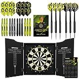 WINMAU MvG Mighty Mike Dartboard Cabinet Set - Includes Bristle Dartboard, 2 sets of Darts plus Accessories, L, Black