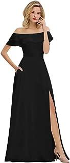 Elegant Strapless Long Chiffon Slit Side Bridesmaid Dress Wedding Gown