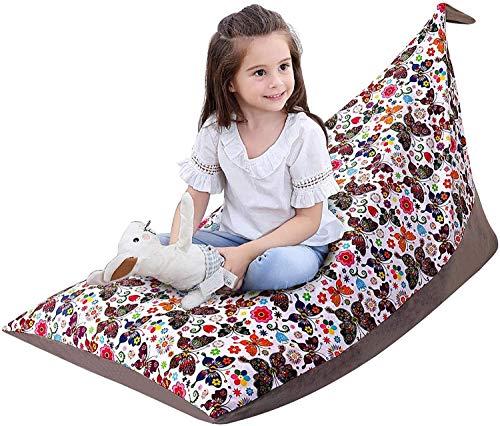 yxx Bean Bag Chair Stuffed Bean Bag Chair Cover,Kids Animals Plush Toys Organizer,Portable Folding Storage Bag Lounge Chair for Kids Teens Adults 30x50x30 (Color : Butterfly)