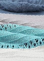 GOSOPIN Womens Casual Soft Cozy Pullover Tops Color Block Long Sleeve Tunic Sweatshirt Tops Drawstring Hoodie Blue Plus Size UK 18 #4