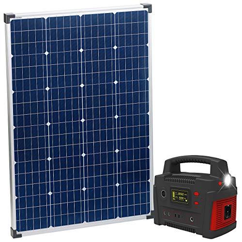 reVolt Solar Batterie: Powerbank & Solar-Konverter mit mobilem 110-Watt-Solarpanel, 114 Ah (Solar-Powerbank 12V)