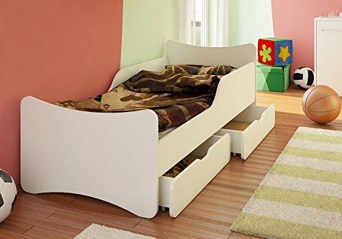 Best For Kids Kinderbett 90x200 weiß mit Schaummatratze TÜV Zertifiziert MIT Zwei SCHUBLADEN 90x200