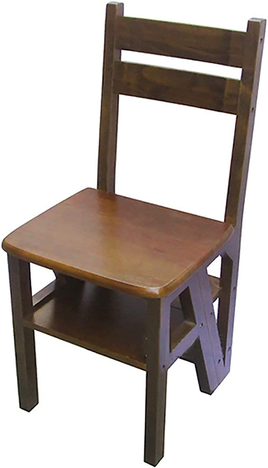 Chair-Stool Dining Folding Seat Kitchen Breakfast Portable Retro Brown Solid Wood Bench with Backrest