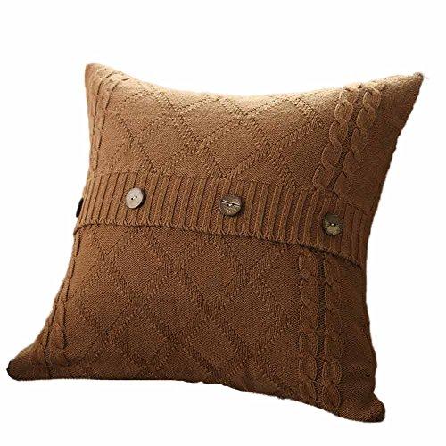 yywl Fundas de cojín de estilo retro de lana tejida, con botón de espera, para dormitorio, decoración de cojín