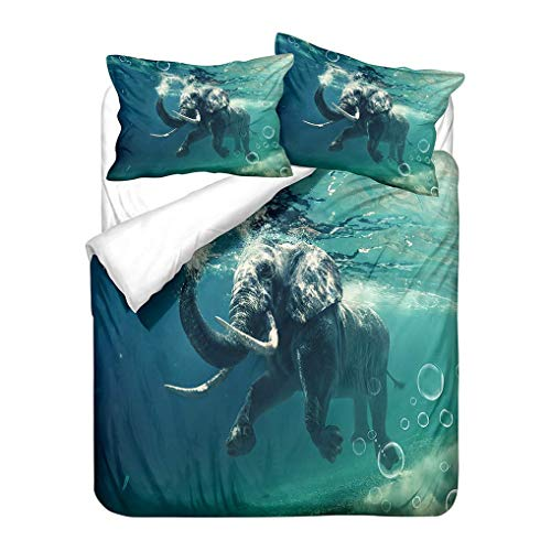966 3D Animals Elephant Bedding set Blue Green Yellow Gray Soft Duvet Cover and Pillowcase Microfiber kids Boy Girl (Style 1,Double 200x200 cm)