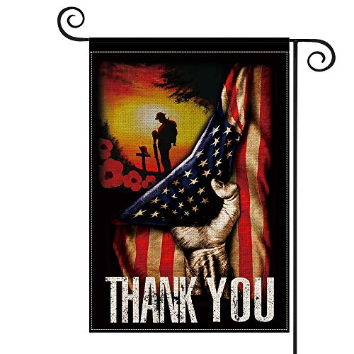 AVOIN Memorial Day USA Flag Military Soldiers Thank You Garden Flag Vertical Double Sided, Patriotic Yard Outdoor Decoration 12.5 x 18 Inch