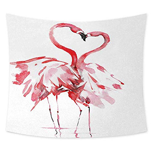 jecycleus Flamingo Cute Tapestry for Men Flamingo Couple Kissing Romance Passion Partners Love Valentines Watercolor Wall Decor for Bedroom Tapestry W70.5 x L59 Inch Dark Coral White