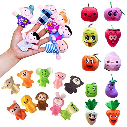 Sealive 26 Pcs Finger Puppets for Toddlers Kids Adults, Farm Animals, Family Members and Fruits Hand Puppet, Story Time Soft Velvet Dolls Props Toys Easter Basket Stuffers Toy Set