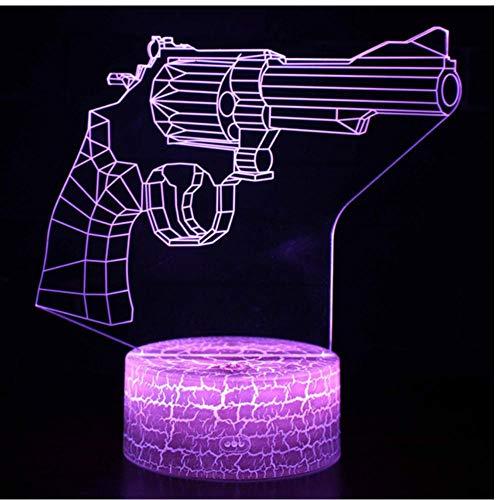 ZZZLamp Lámpara 3D ilusión de luz nocturna modelo de pistolas decoración de habitación luces nocturnas patrón de revólver lámparas de mesa regalos de Navidad perfectos