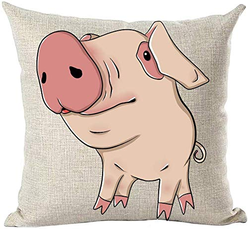 Mesllings - Funda de almohada para niños, pintada a mano, de acuarela, diseño de cerdo, color rosa, para decoración de bebés, para el hogar, sala de estar, cama, sofá, coche, algodón, cuadrado, 45,7 x 45,7 cm