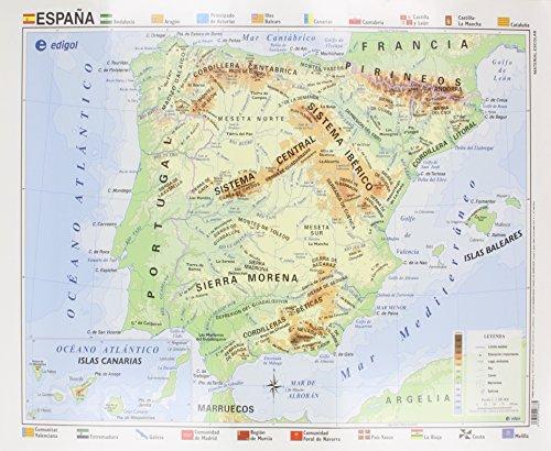 Mapa EDIGOL Poster 70x50 cm Fisico POLITICO sin Varilla ESPAÑA