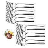 velaze set forchette da tavola 12 pezzi, forchetta cena di posate in acciaio inox 18/10 - argento