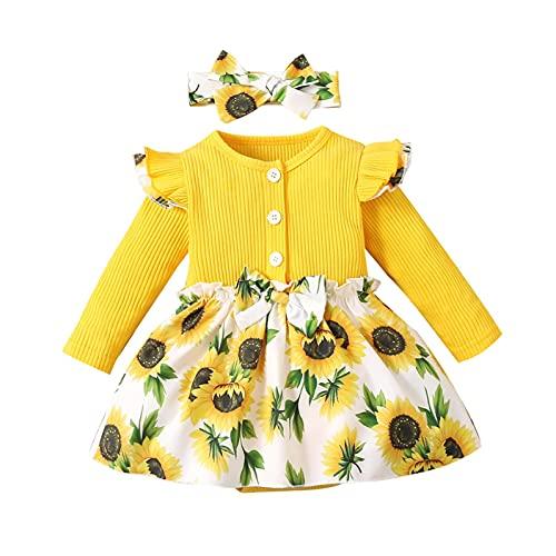 Kids Newborn Toddler Girls Ruffle Floral Ruffles Bodysuit Jumpsuit Dress Skirt Long Sleeve Top + Headbands 2 Outfits Set