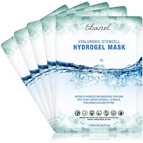 Ebanel 5-Pack Hydrogel Collagen Mask for Face, Instant Brightening Hydrating Face Mask Sheet Mask for Firming, Lifting Anti Aging Anti Wrinkle with Hyaluronic Acid, Peptide, Aloe Vera, Vitamin C & E