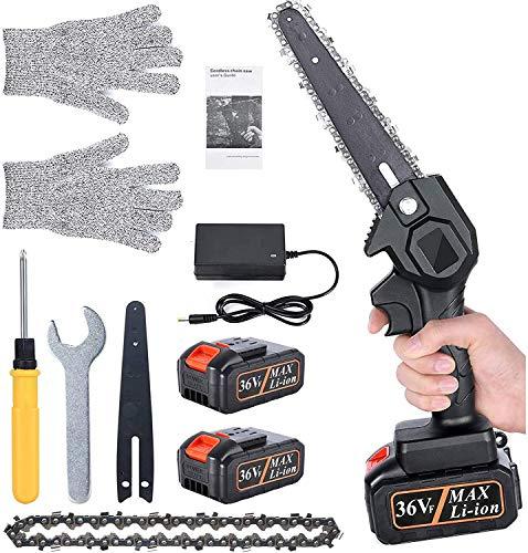 Wxnnx Mini Motosierra eléctrica de 6 Pulgadas con Cargador y baterías, Motosierra de batería Recargable portátil para poda de árboles y Jardines,2 Batteries