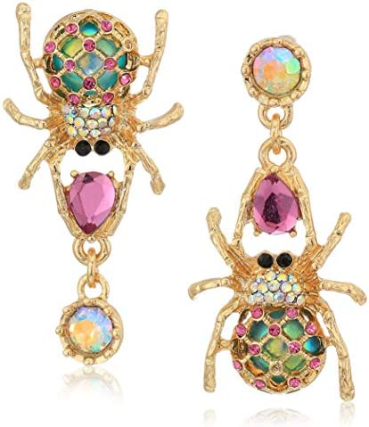 Betsey Johnson Spider Non-Matching Drop Earrings