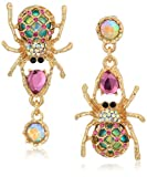 Betsey Johnson Women's Creepshow Spider Non-Matching Drop Earrings Pink/Antique Gold Drop Earrings