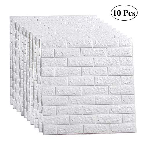 LEISIME 10PC 3D Wall Sticker Self-Adhesive Wall Panels Waterproof PE Foam White Wallpaper for Living Room TV Wall and Home Decor (Brick 10 Pack - 58 Sq Ft)