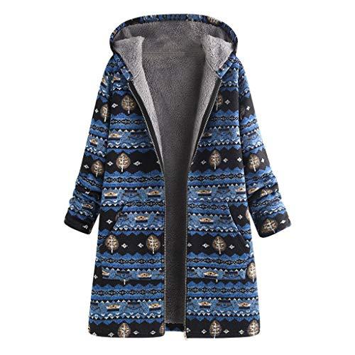 QingJiu Winter Damen Dicker Warmer Kapuzenmantel Reißverschluss Taschen Jacke Langarm Bedruckte Plus Size Parka