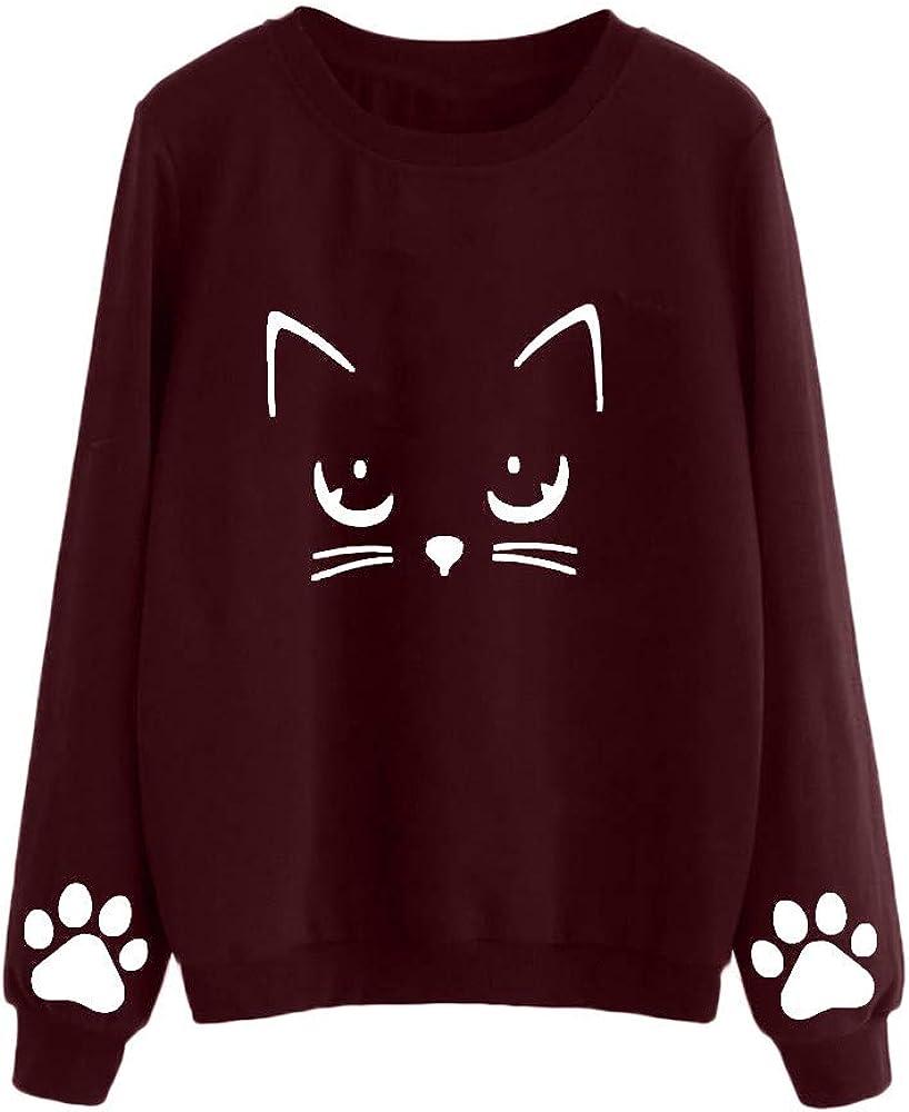 POTO Pullover Sweatshirts for Women Long Sleeve Cat Print Crop Tops Sweatshirt Teen Girls Cute Croptops Tee Shirts
