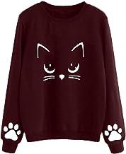 KFSO Women Autumn Winter Cat Weater Round Neck Long Sleeve Regular Blouse Top