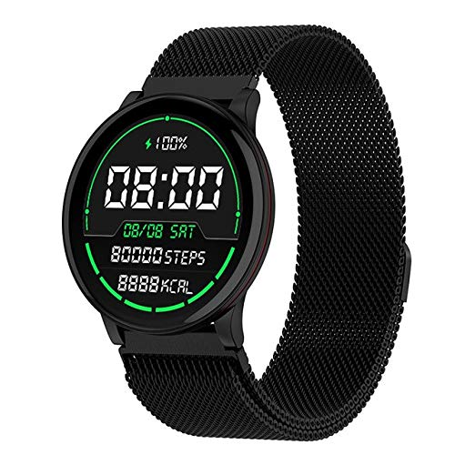 Round Smart Watch Women Men Smartwatch For Android IOS Electronics Smart Clock Wach Fitness Tracker New Smart-watch Wristwatch steel black