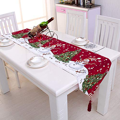 Classico runner natalizio, tovaglia decorativa, in cotone e lino, per sala da pranzo, feste, vacanze, colore: rosso, misure: 34 x 180 cm 2