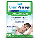 Clear Passage Nasal Strips, Clear Extra Strength, 50 Count | Works Instantly to Improve Sleep, Reduce Snoring, & Relieve Nasal Congestion Due to Colds & Allergies (Clear)