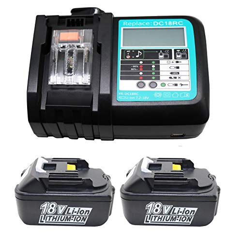 Cargador de repuesto con 2x Batería 18V 5.0Ah para Makita Atornillador dhp453rf DHP459RTJ BHP453RHE DHP453RYLJ DHP459RMJ DHP458RMJ hp457dwe10DHP458Z hp331dsax3DHP481RTJ dfs452z 5000mAh