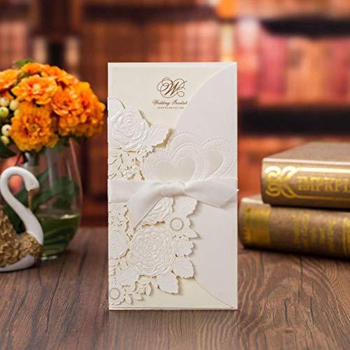Yener Wit Rood Trouwkaarten Kaart Roos Hart Leuke Wenskaarten met Lint Bruiloftsfeest Gunst Decoratie 1 stuks, Witte buitenkaarten, 113x215 mm