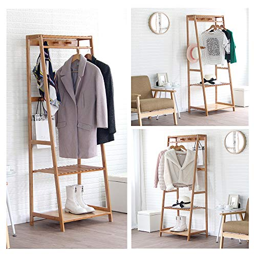 Ufine Bamboo Clothes Rack Heavy Duty Garment Rack Coat Hanging Stand with 6 Hooks, 3 Tier Storage Shelves Closet Organizer for Bedroom, Living Room, Guest Room, Apartment and Entryway