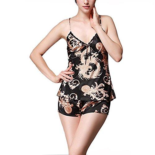 Morbuy Pijama de Tirantes Mujer Kimono Verano Corto Saten Seda,Suave,Cómodo,Sedoso y Agradable 2 Pieza (L, Noir)