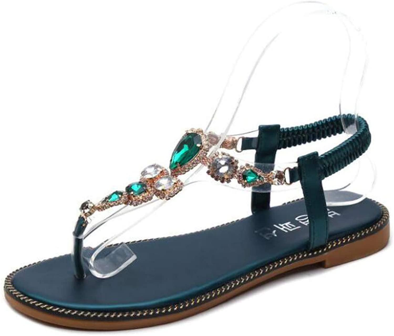 Women's Summer Diamonds Clip-On Elastic Bohemian Beach Flat Roman Sandals,Green,39