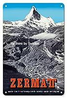 22cm x 30cmヴィンテージハワイアンティンサイン - ツェルマット、スイス - マッターホルン - スイスアルプス - スイスエアー rがそこに飛ぶ - ビンテージな航空会社のポスター によって作成された アルフレッド・ペレン-バルベリーニ c.1954