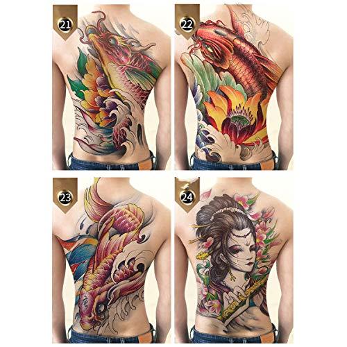 Radiancy Inc 4 Piezas Grandes Tatuaje Temporal,Pegatinas de Tatuajes Falsos Impermeables Grandes Pegatinas De Tatuaje Temporal Espalda Completa Cuerpo Arte Falso Tatuaje para Adultos Hombre Mujer