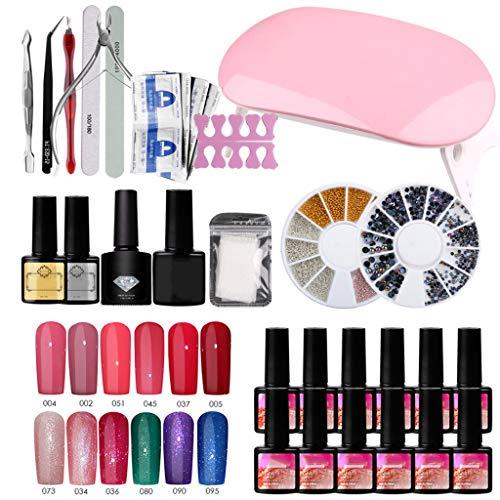 RG-FA Esmalte de uñas de gel conjunto de uñas UV LED lámpara secador de uñas Gel esmalte Kit herramientas de manicura conjunto uñas eléctrico