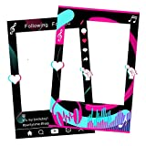 Music Photo Booth Frame Foam Board Tik Tok Selfie Frame Double Sided Design for Girls Kids Ladies Birthday Party Social Media Theme Photo Props