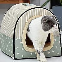 猫 ベッドハウス、ベッド秋冬ペット用品ペット、仕様:L Zoe's Shop (Color : Green Cartoon)