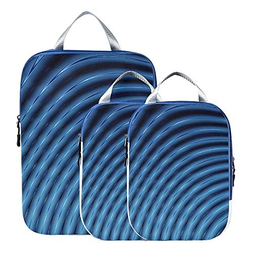 Juego de cubos de embalaje de viaje abstractos 3d líneas azules cubos de embalaje de licuadora para viajes Bolsas de embalaje expandibles para equipaje de mano, viajes (juego de 3)