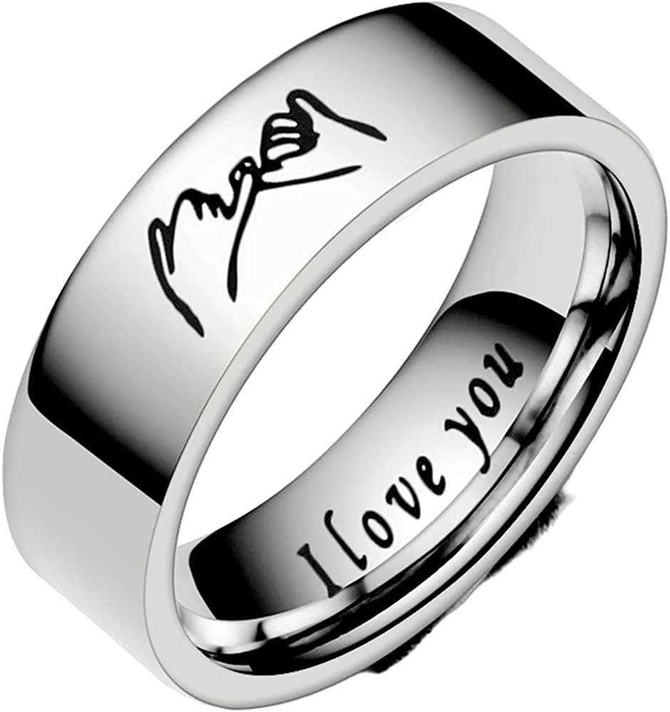6mm Stainless Steel Classic Plain Lovers Couple Wedding Band Statement Anniversary Promise Ring
